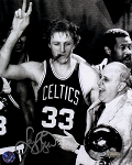 Larry Bird Autographed Celtics Cigar Celebration w/ Red Auerbac 8x10 Photo