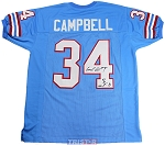 Earl Campbell Autographed Houston Oilers Blue Custom Jersey HOF 91