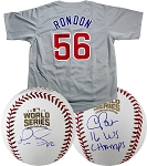 Hector Rondon, Pedro Strop & Chris Bosio Autographed Cubs Jersey & Baseballs Combo