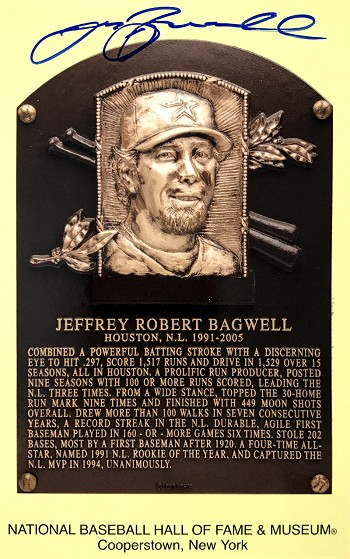 Jeff Bagwell Autographed Hall of Fame Plaque Postcard