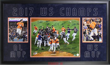 Houston Astros Team Autographed 2017 World Series 16x20 & 8x10 Photos with Premium Frame